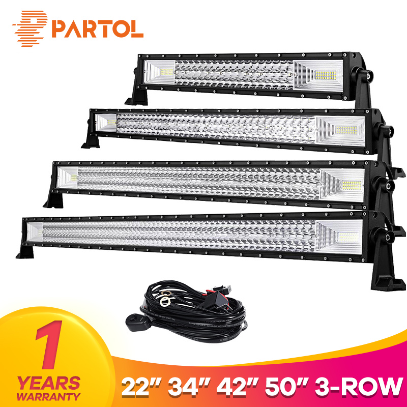 Partol 22 34 42 50 Straight Curved Tri-Row LED Light Bar Combo Beam Offroad Work Light 4WD 4x4 LED Bar Camper Trailer ATV 288w 50 curved led light bar with rgb halo ring combo led work light offroad led bar truckatv 4x4 4wd 12v ute working foglights