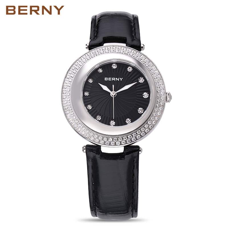 Берни Для женщин часы кварцевые Lady Часы Модный Топ бренд класса люкс Relogio Saat Montre horloge feminino; bayan Femme Япония движение