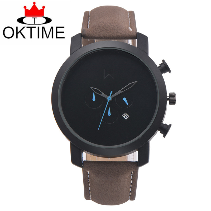 OKTIME Fashion Men Business Watch Leather Casual Simple Male Quartz Clock Brand Sport Wist Watch For Men Reloj Hombre 2017 oktime minimalist women rhinestone watch analog quartz clock mesh leather simple fashion ladies wrist watch reloj mujer 2017