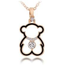 Трендовые Милые ожерелья Медведь Подвеска для женщин золото кубический цирконий ожерелье Мода Длинная подвеска ожерелье женское Медвежонок ювелирные изделия