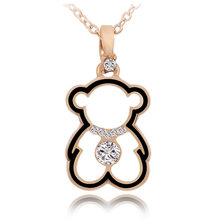 Trendy Cute Bear Necklaces Pendant for Woman Gold Cubic zirconia Necklace Fashion Long Pendant Necklace female 2019 Bear Jewelry(China)