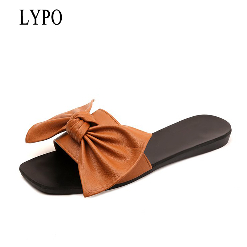 LYPO Summer Beach Slippers 2017 Slip On Slides Casual Platform Shoes Woman Bowtie Flats New Creepers 3 Colors XWZ3479 phyanic 2017 gladiator sandals gold silver shoes woman summer platform wedges glitters creepers casual women shoes phy3323