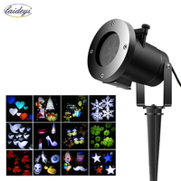 LAIDEYI 12 PCS Slides LED Laser Projection Lamp Stage Lighting Effect Waterproof Outdoor DJ Party Light For Christmas Halloween