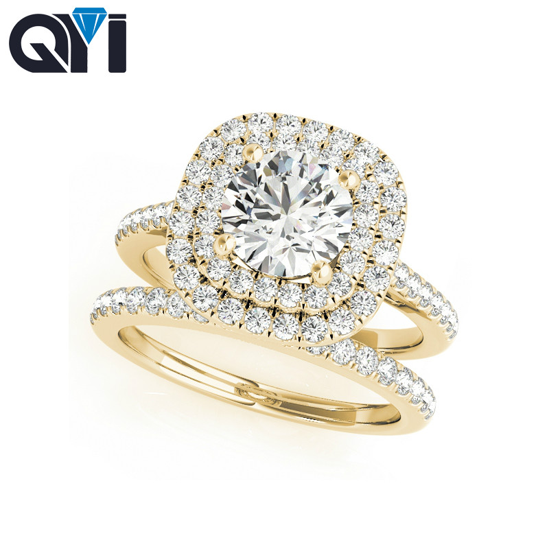 QYI 14K Solid Yellow Gold Double Halo Engagement Ring Sets Round Cut 1ct Simulated Diamond Bridal Jewelry Women Wedding Ring