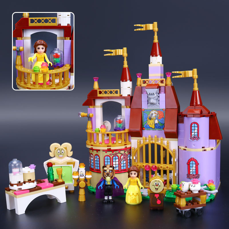 2017 The Princess Bell s Enchanted Castle Beauty and The Beast Educational Building Blocks Girls Block