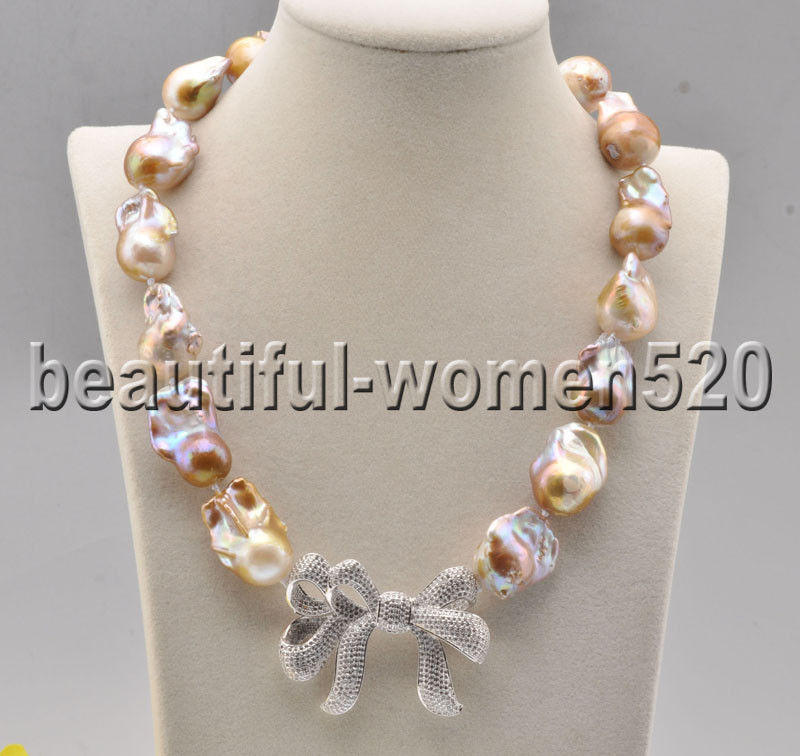 Z8930 Huge 27mm Lavender Baroque Keshi Pearl Necklace Bowknot CZ 18inchZ8930 Huge 27mm Lavender Baroque Keshi Pearl Necklace Bowknot CZ 18inch