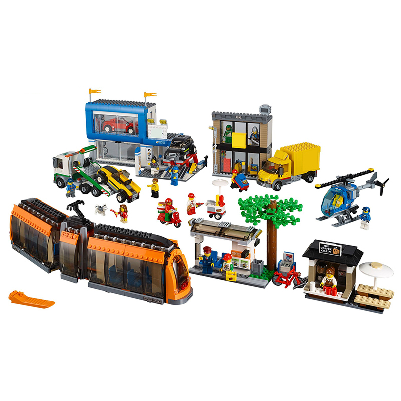 Lepin 02038 City Square building bricks Toys for children Game Model Car Gift Compatible with Decool Bela 60097 2017 enlighten city series garbage truck car building block sets bricks toys gift for children compatible with lepin
