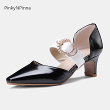Women Pumps 2019 Summer Patent Leather Chunky High Heels Bridal Dress Shoes Pointed Toe Buckle for Party Office Large Size 43 44