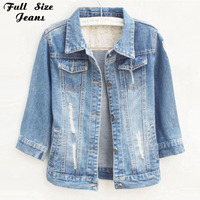 Plus Size Chaquetas Mujer Jeans Jacket Women Long Sleeve White Retro Denim Coat Oversized Jean Casaco