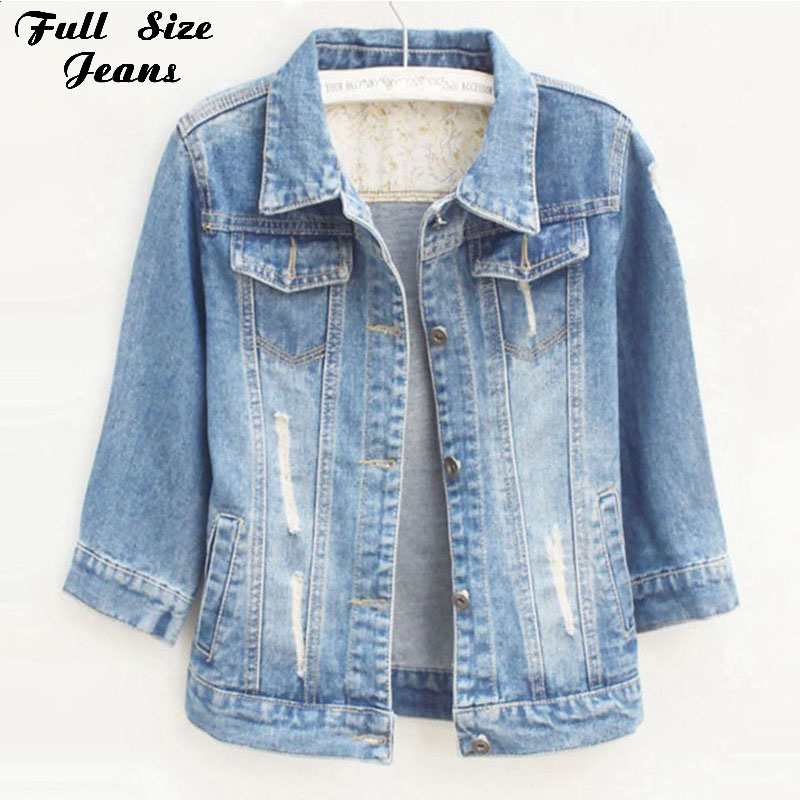 Women Plus Size Cropped Jean Jacket Light Blue Bomber Short Denim Jackets Jaqueta Casual Ripped Jeans Coat 3/4 Sleeve 4XL 5XL ...