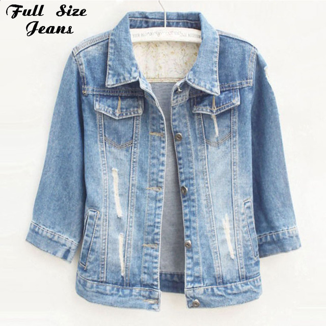 Women Plus Size Cropped Jean Jacket Light Blue Bomber Short Denim ...