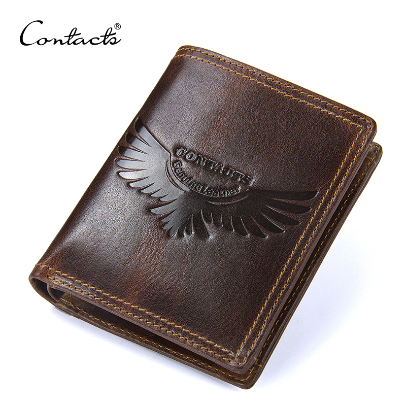 CONTACT'S Genuine Leather Men Wallet with coin holder Vintage men's purse with credit card holder male bag man small Wallets williampolo men wallets male purse genuine leather wallet with coin pocket zipper short credit card holder wallets leather