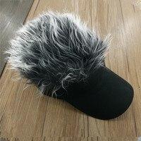 Wholesale Custom Adjustable Fashion Party Fans Black Flair Hair Visor Vig Baseball Caps FAKE Hair Hat