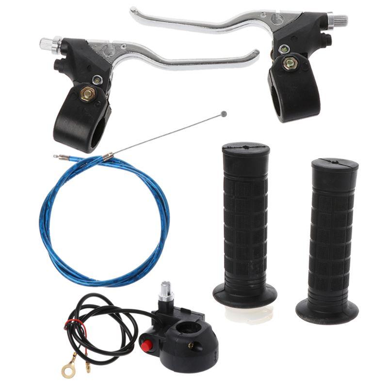 QILEJVS High Quality One Set Hand Grips Kill Switch Twist Throttle Cable Brake Levers For 47cc 49cc Mini Pocket Bike