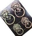 Manija de los muebles de estilo rural europeo clásico de aleación de zinc lion head anillos de bronce tirón de armario o un cajón