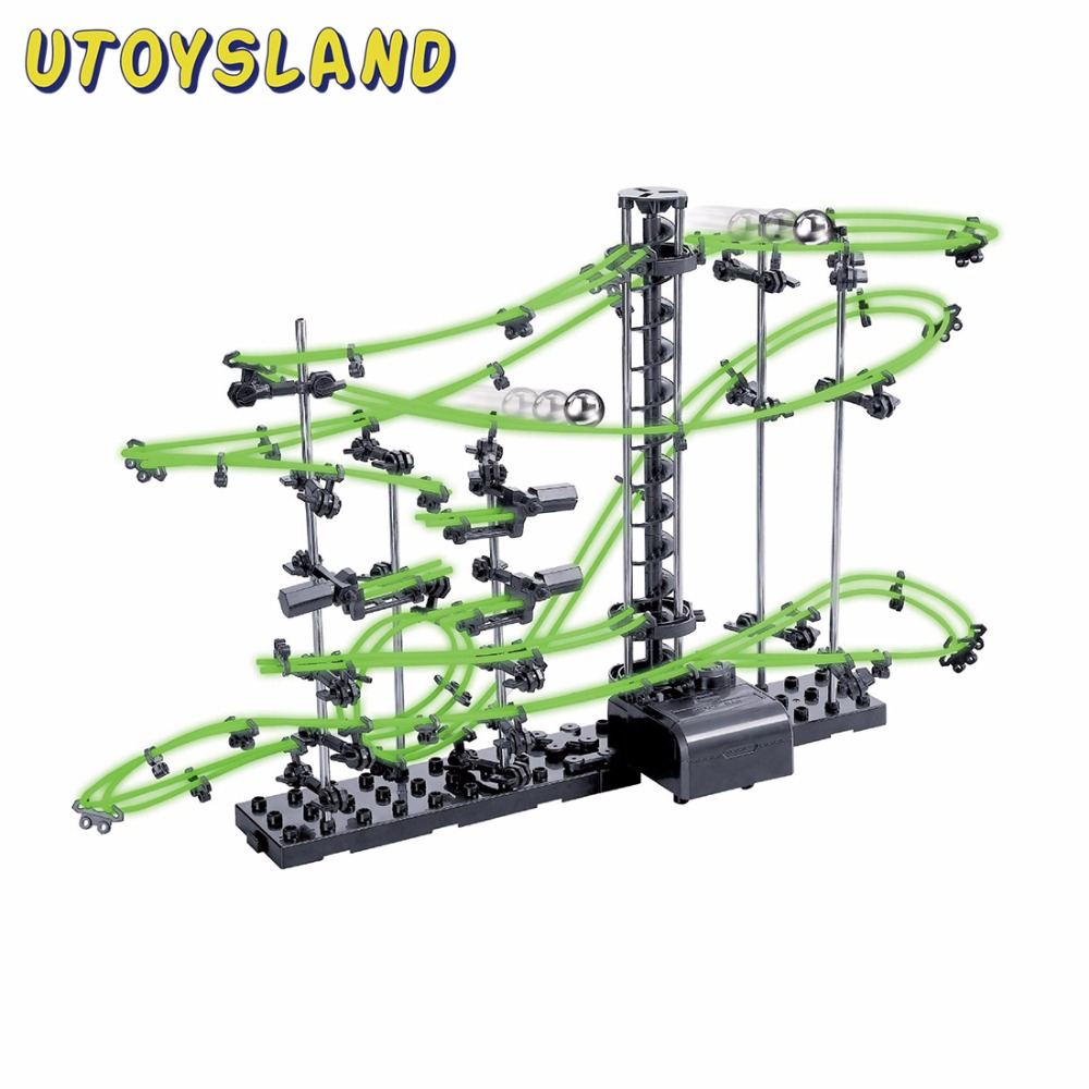 UTOYSLAND DIY Educational Toys Space Rail Level 2 3 4 Steel Marble Roller Coaster Glow In The Dark  Spacerail For Kids Toys Gift