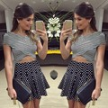 2015 Summer Sexy Lady Stripe V-neck Casual Women Crop Tops High Waist Polka Dot Pleated Skirt Set 29