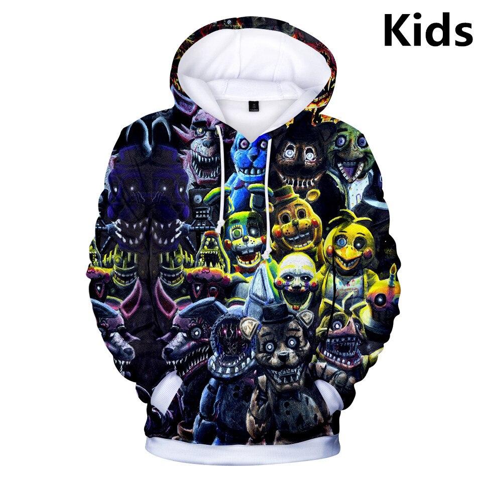 3 To 14 Years Kids Hoodies FNAF 3d Printed Boys Girls Hoodie Five Nights At Freddy's Cartoon Sweatshirt Casual Children Clothes