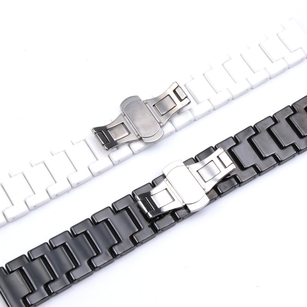 Image 4 - 12/14/16/18/20/22mm Shine for Samsung Gear S2/S3 Watchband Quality Ceramic Watch Strap Luxury Metal Bracelet for Huawei Watch 2-in Watchbands from Watches
