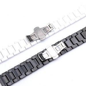 Image 4 - Ремешок для часов Samsung Gear S2/S3, 12/14/16/18/20/22 мм, качественный керамический ремешок для часов, роскошный металлический браслет для Huawei Watch 2