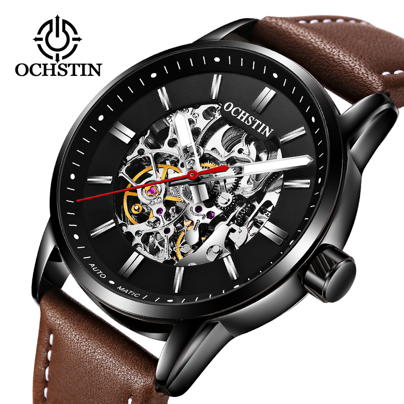 OCHSTIN Men Hollow Watch Top Brand Luxury Automatic Mechanical Watch Leather Military Watches Clock Men Skeleton