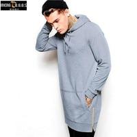 New Arrival Black Solid Fleece Hip Hop Oversize Men Hoody Longline Fashion Hoodies Sweatshirts Men Free