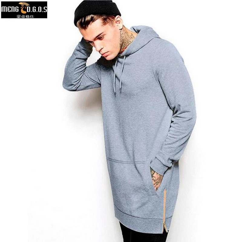 New Arrival Black Solid Fleece Hip Hop Oversize Men Hoody Longline Fashion Hoodies Sweatshirts Men Free