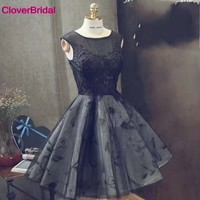 China 2017 Design Cap Sleeves Ever Pretty Junior School Tulle Grey Homecoming Dresses With Black Appliques