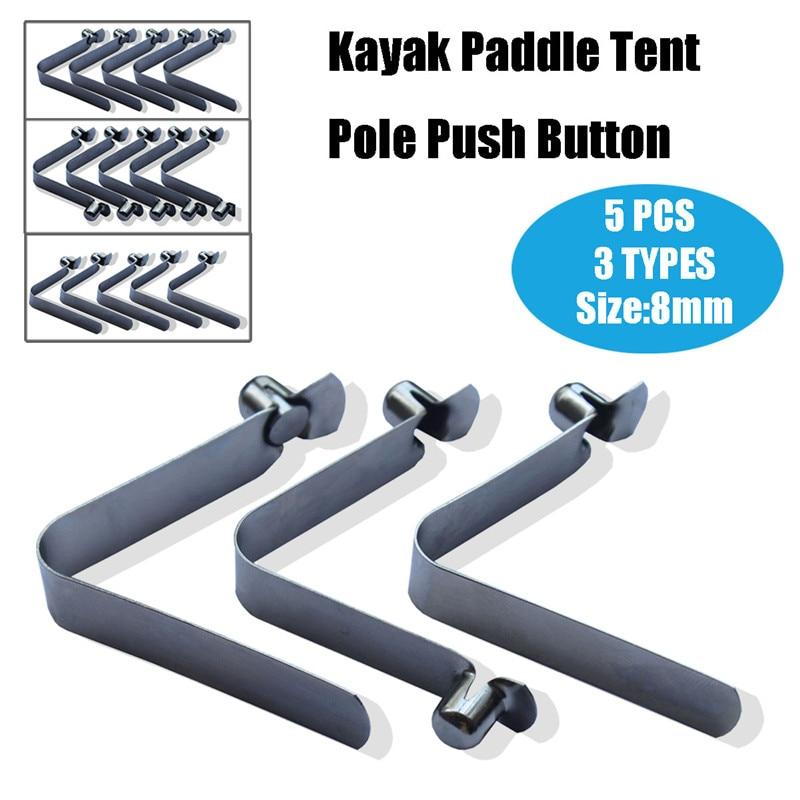 5pcs//set Double Buttons Clip für Kayak Paddle Snap Spring Clips Tent Pole