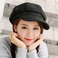 Британский ретро газета мальчик художник шляпу решетки шерсть восьмиугольная шляпа женский осенью и зимой Корейский литературный cap Бретт hat