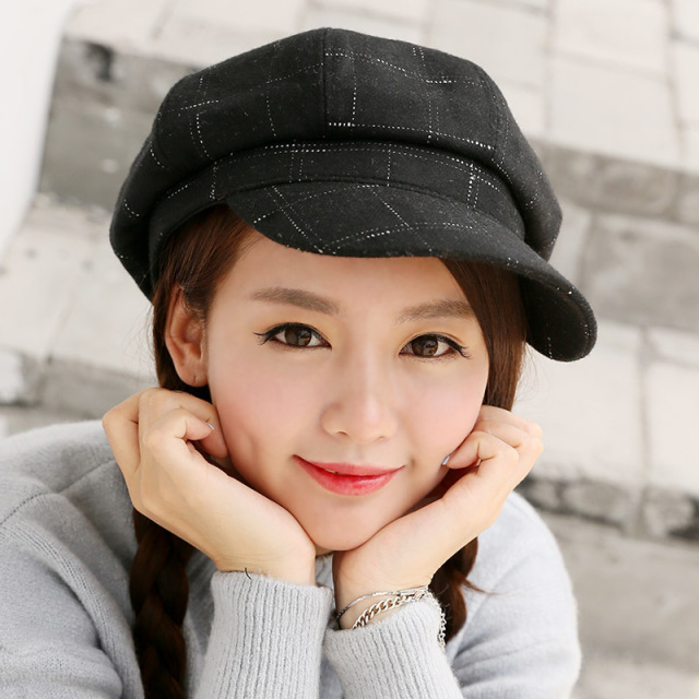British retro newspaper boy painter hat lattice wool octagonal hat female  autumn and winter Korean literary 296684727f0