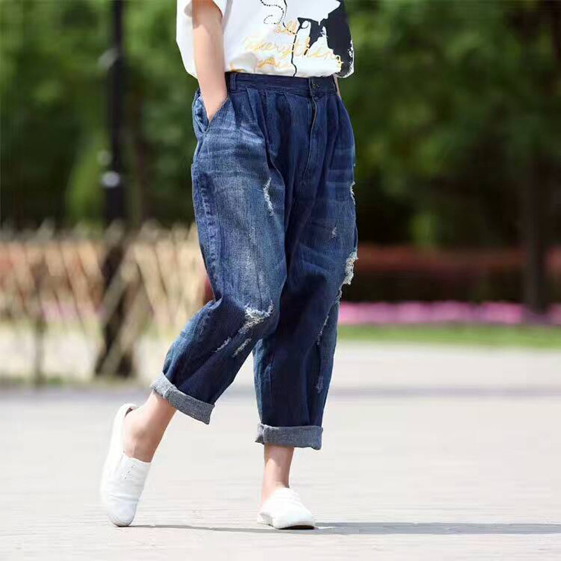 Autumn Ankle Length Loose Ripped Hole Jeans Women Fashion Drop Crotch Denim Harem Pants Jeans pockets casual ankle length embroidery summer hole denim harem pants fashion floral jeans ripped jeans for women tt2395
