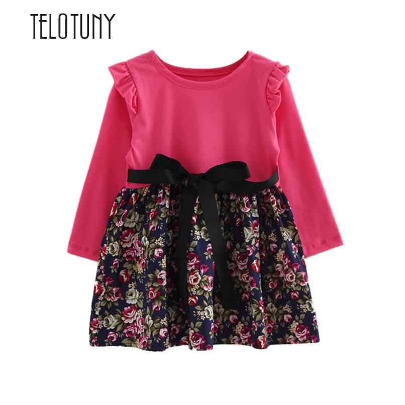 TELOTUNY Toddler Kids Baby Girls Floral Print Long Sleeve Party Princess Dresses Clothes Bowknot A-Line Long Sleeve S3MAR13