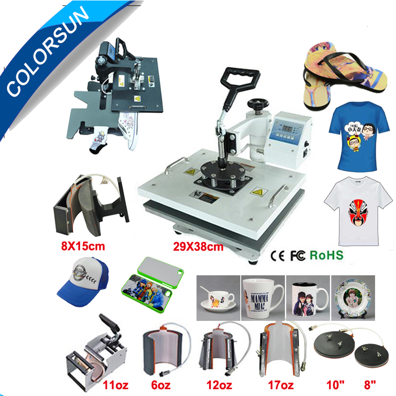 Hot Sale Multifunctional digital 9 in 1 Heat Press Machine for printing T-shirt/Mug/Cup/Plate/Hat/Flat/Shoes/Sock/ Glove 1 pcs 38 38cm small heat press machine hp230a