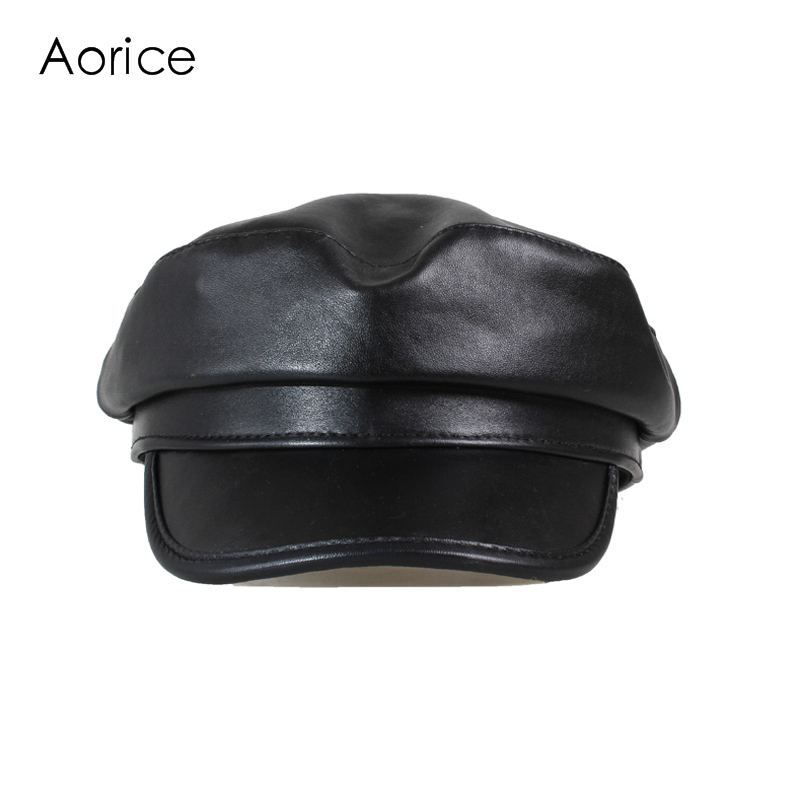 Aorice Winter Ekte Lær Menn Baseball Cap Hue CBD High Quality Menns Real Sheep Skin Skinn Voksen Solid Hatter Caps HL151-B