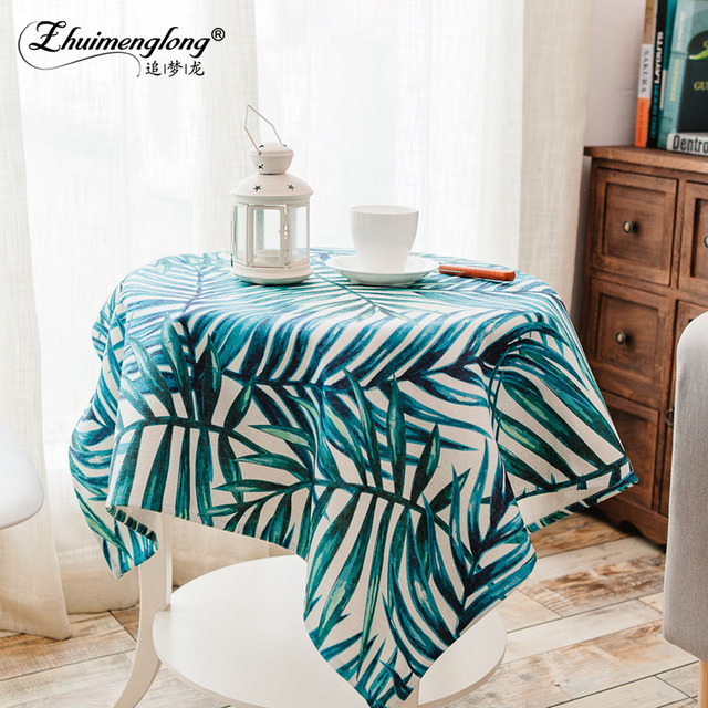 Zhuimenglong Hot Square Tablecloths Leave Fabric For Round Table Cloth Mat  Cover Cotton Kitchen Dining Bar