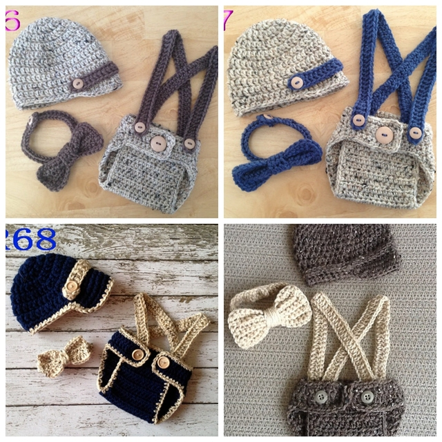Crochet Baby Hatdiaper Coverbow Three Piece Knitted Neonatal Photo