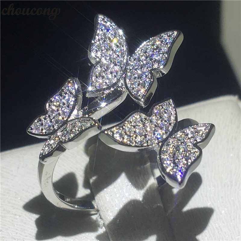 choucong Butterfly Finger Ring 925 sterling Silver Pave setting AAAAA Cz Stone Enagagement Wedding Band Rings For Women Jewelry 2016 custom jewelry ebay hot sell men stone bezel setting cz cubic zirconia wedding band rings