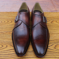 Luxury Custom Mens Goodyear Leather Shoes Unique Single Monk Strap Shoes For Men Italian Handmade Leather