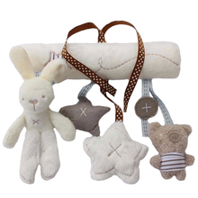 Multifunctional Rabbit Hand Bell Plush Toy for Baby on Stroller