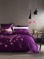 Luxo elegante bordado 100% algodão 4 pcs cama King size conjunto Rainha roxo conjunto de cama lençol capa de edredão folha plana conjunto
