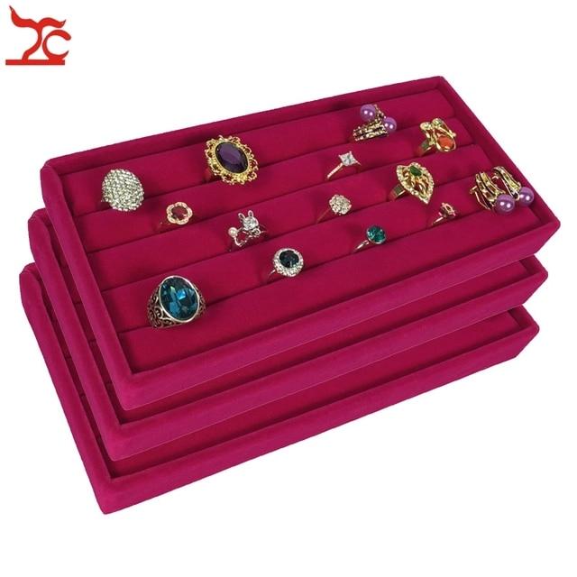 3Pcs Velvet Jewelry Display Case Rose Red Ring Storage Box Earring