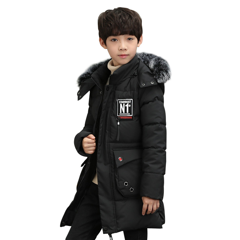 Long Cotton Coat With Faux fur collar for Boys Hooded Winter Jacket for Children Cotton Boys Snowsuit Warm Kids Winter outerwear 2017 new fashion boys winter jacket cotton coat children parka detachable faux fur hooded collar long style army green red black