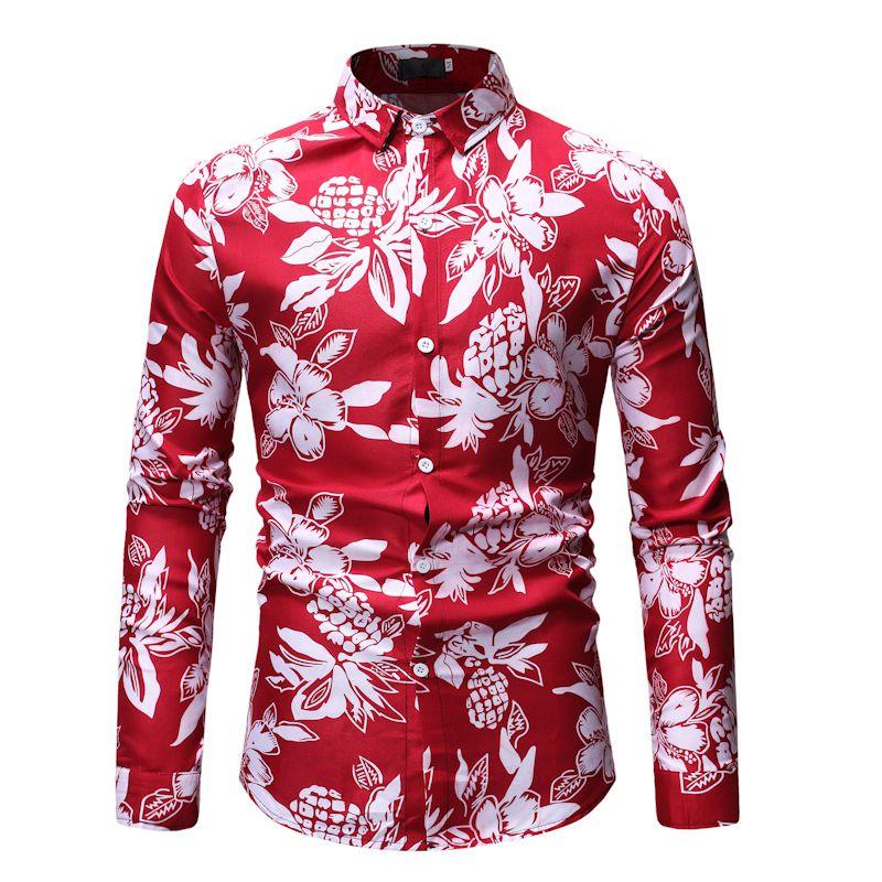Рубашка мужская 2019 новая брендовая гавайская рубашка 3D принт рубашка мужская Свободная Модная Повседневная рубашка с длинным рукавом Camisa ...