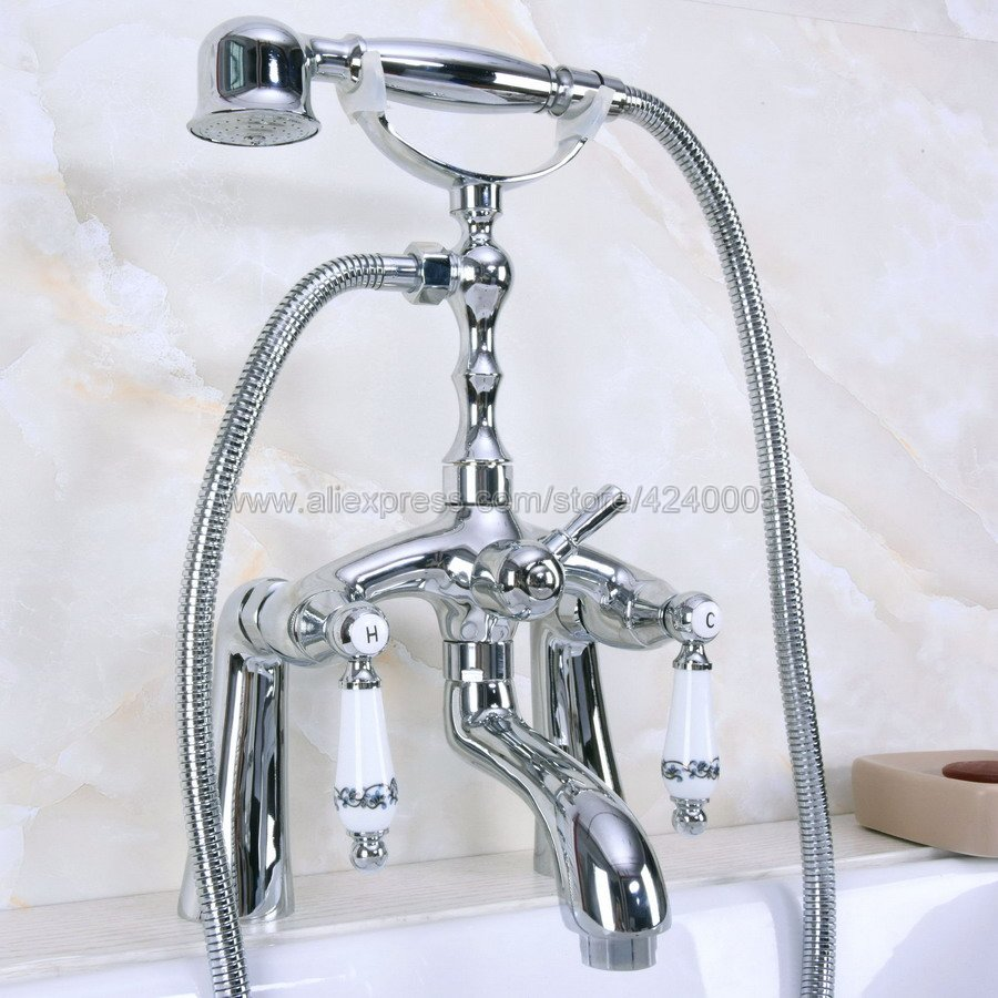 Polished Chrome Bathtub Faucet Deck Mount with Handheld Shower Bathroom Tub Mixer Taps Kna102Polished Chrome Bathtub Faucet Deck Mount with Handheld Shower Bathroom Tub Mixer Taps Kna102