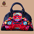 Online Vintage fashion Shell women handbags Ethnic black canvas embroidery Travel Shoulder Messenger bags