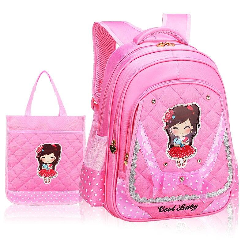 waterproof Princess school Backpack kids orthopedic Children School Bags Girls Child cartoon Backpack for Teenage Girls Bow Suit