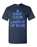 Keep Calm and Light It Up Blue T-shirt Autism Support Shirts Hot Sale Casual Clothing Fashion 2018 Summer