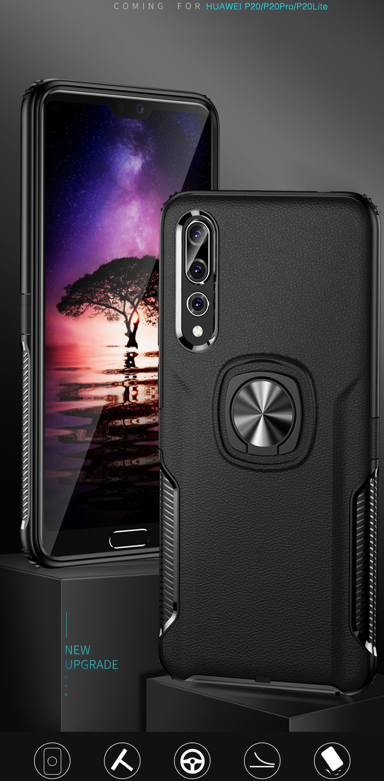 Invisible Magnetic Bracket Case for Huawei P20 Pro
