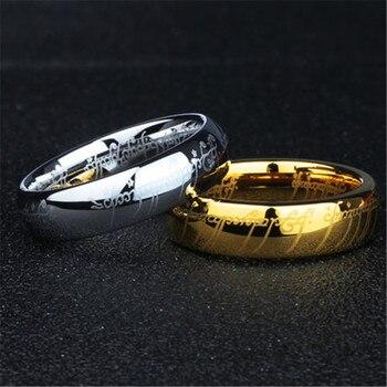 (1 peças/lote) 100% de Tungstênio anel Senhor dos anéis de Aço Inoxidável 316l presente para os homens
